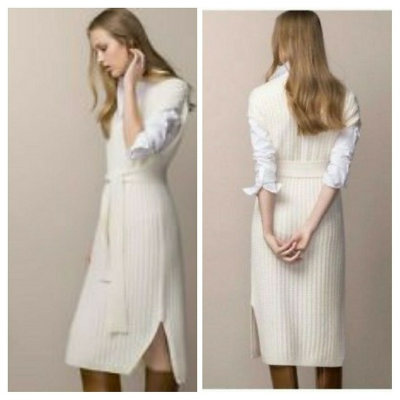 47f66246c1d6 Massimo Dutti Italian yarn cable knit dress sweate